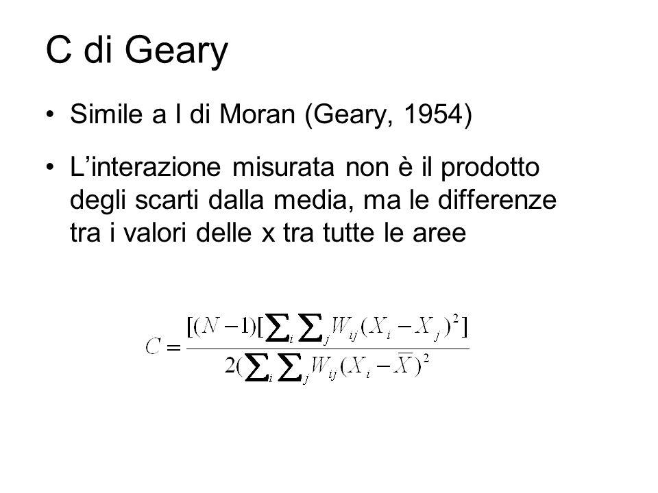 C di Geary Simile a I di Moran (Geary, 1954) Linterazione misurata non è il prodotto degli scarti dalla media, ma le differenze tra i valori delle x tra tutte le aree