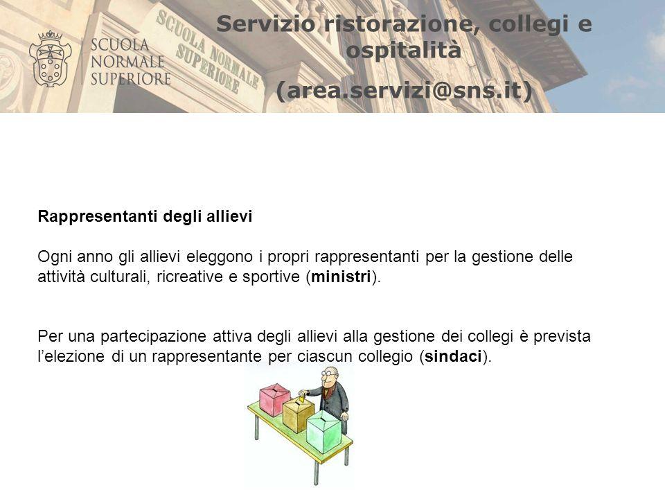 Servizio ristorazione, collegi e ospitalità (area.servizi@sns.it) Rappresentanti degli allievi Ogni anno gli allievi eleggono i propri rappresentanti