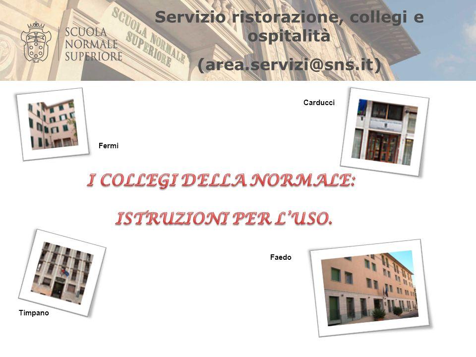 Servizio ristorazione, collegi e ospitalità (area.servizi@sns.it) Faedo Fermi Carducci Timpano