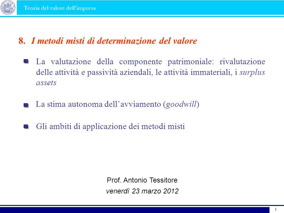 La stima autonoma dellavviamento (goodwill) I metodi misti di determinazione del valore8. La valutazione della componente patrimoniale: rivalutazione