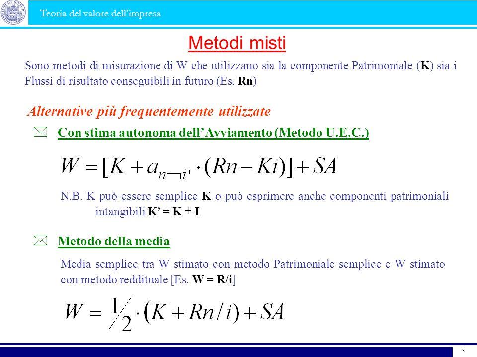 5 Metodi misti Sono metodi di misurazione di W che utilizzano sia la componente Patrimoniale (K) sia i Flussi di risultato conseguibili in futuro (Es.