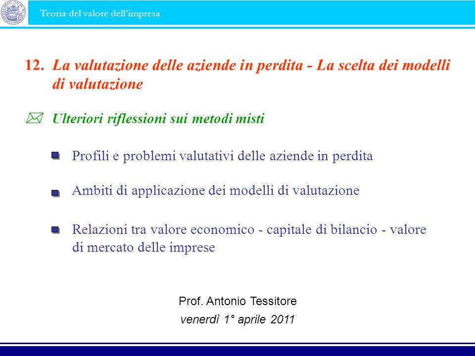 Ambiti di applicazione dei modelli di valutazione La valutazione delle aziende in perdita - La scelta dei modelli di valutazione 12. Profili e problem