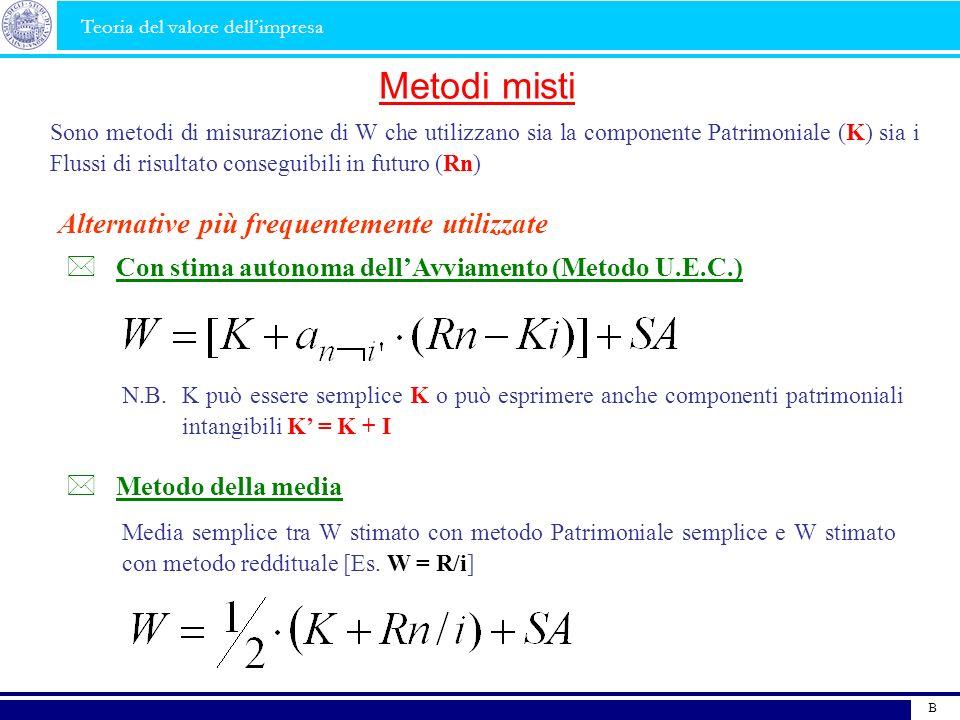 B Metodi misti Sono metodi di misurazione di W che utilizzano sia la componente Patrimoniale (K) sia i Flussi di risultato conseguibili in futuro (Rn)