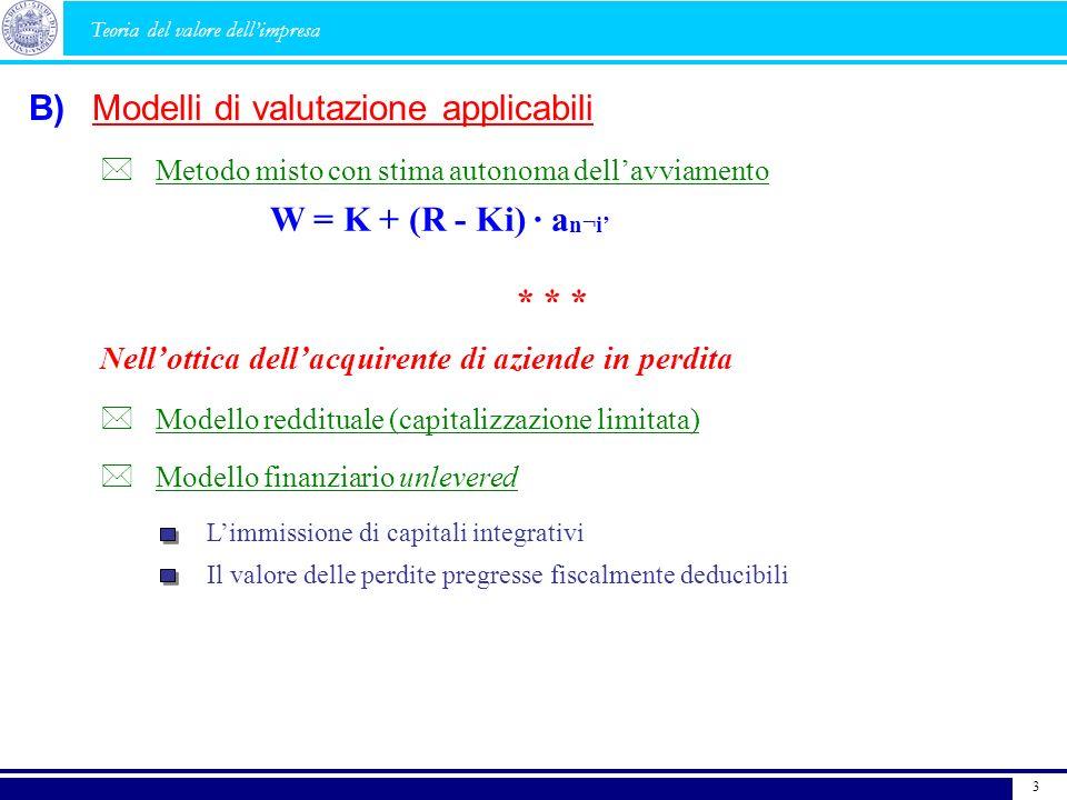 B) Teoria del valore dellimpresa Metodo misto con stima autonoma dellavviamento W = K + (R - Ki) · a n¬i * * * Nellottica dellacquirente di aziende in