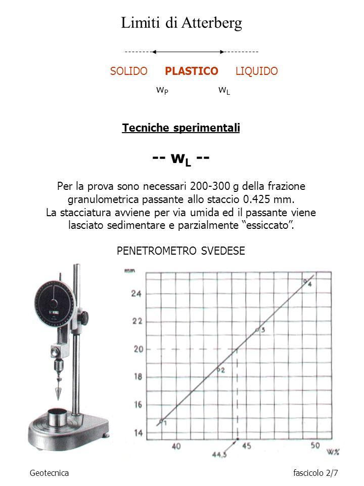 Geotecnicafascicolo 2/8 -- w P -- Circa 20 g della pasta preparata per la determinazione del w L viene ulteriormente essiccata – parzialmente.