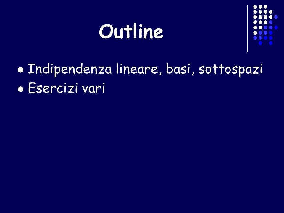 Outline Indipendenza lineare, basi, sottospazi Esercizi vari