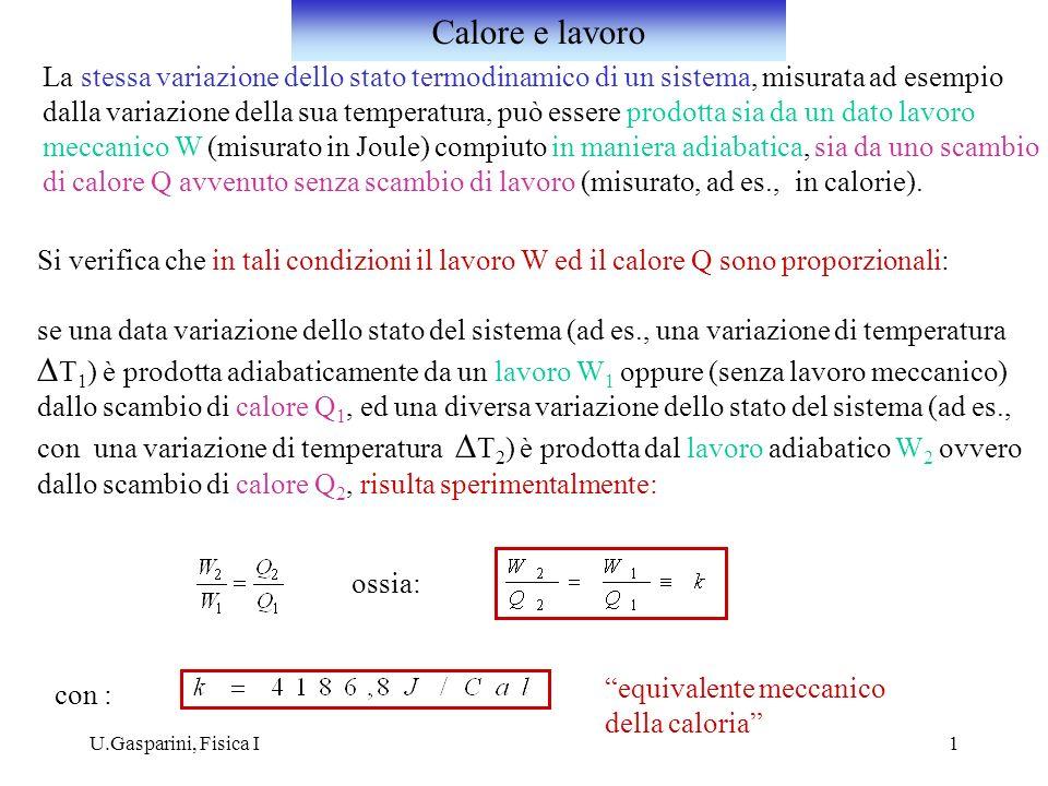 U.Gasparini, Fisica I2 Se un sistema termodinamico compie una trasformazione ciclica (trasformazione in cui lo stato termodinamico iniziale è uguale a quello finale), scambiando globalmente con i sistemi con i quali interagisce il lavoro W ed il calore Q, il rapporto tra queste due quantità è sempre: indipendentemente dalla trasformazione ciclica compiuta (ossia dal valore di W ).