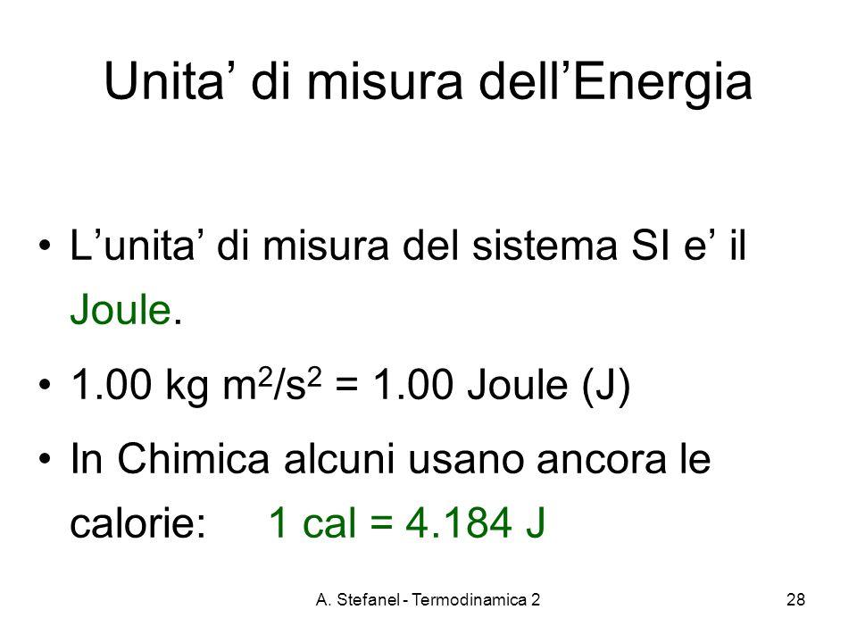 A. Stefanel - Termodinamica 228 Lunita di misura del sistema SI e il Joule. 1.00 kg m 2 /s 2 = 1.00 Joule (J) In Chimica alcuni usano ancora le calori