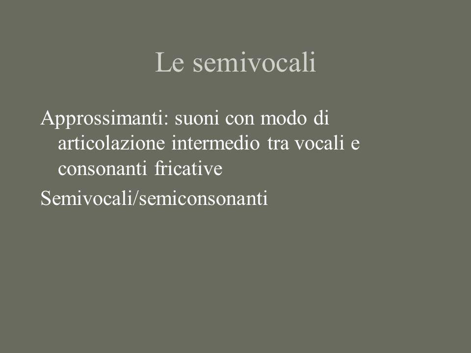 Le semivocali Approssimanti: suoni con modo di articolazione intermedio tra vocali e consonanti fricative Semivocali/semiconsonanti
