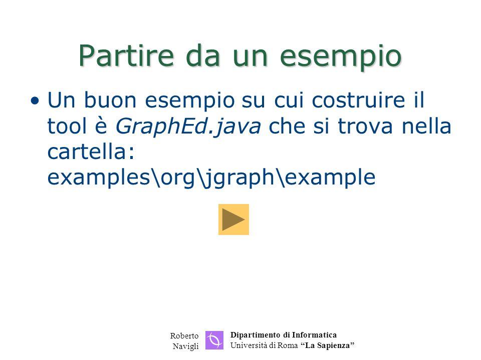 Dipartimento di Informatica Università di Roma La Sapienza Roberto Navigli Partire da un esempio Un buon esempio su cui costruire il tool è GraphEd.ja
