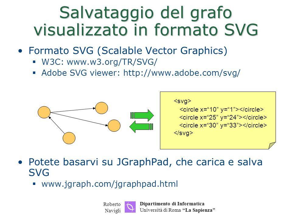 Dipartimento di Informatica Università di Roma La Sapienza Roberto Navigli Salvataggio del grafo visualizzato in formato SVG Formato SVG (Scalable Vec