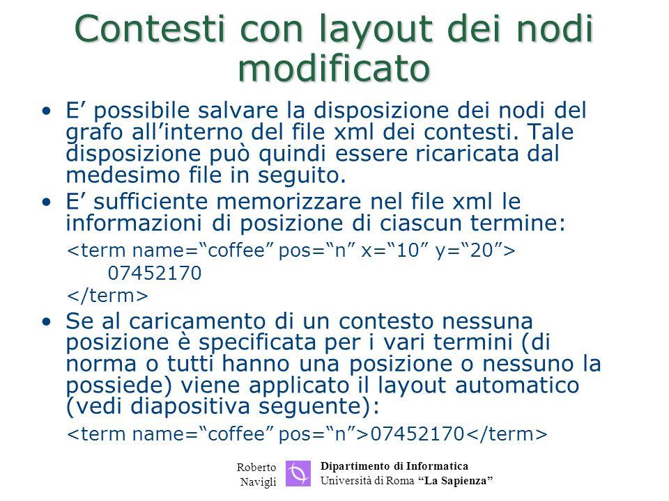 Dipartimento di Informatica Università di Roma La Sapienza Roberto Navigli Contesti con layout dei nodi modificato E possibile salvare la disposizione