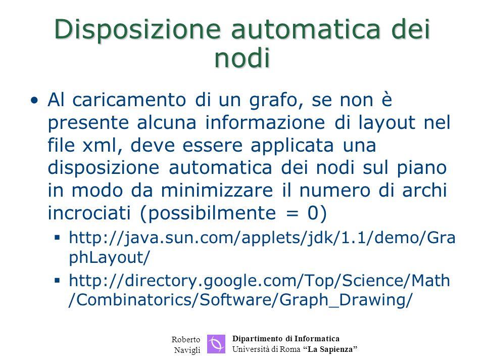 Dipartimento di Informatica Università di Roma La Sapienza Roberto Navigli Disposizione automatica dei nodi Al caricamento di un grafo, se non è prese