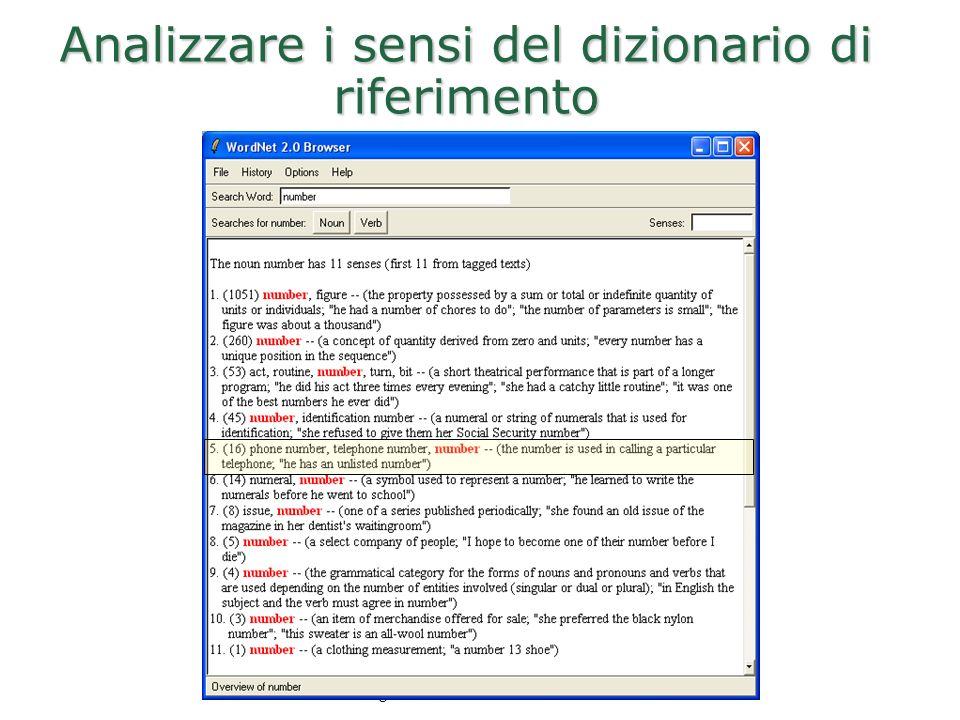 Dipartimento di Informatica Università di Roma La Sapienza Roberto Navigli Analizzare i sensi del dizionario di riferimento