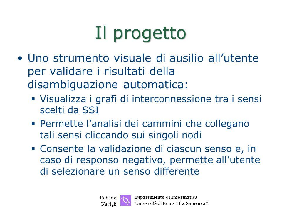 Dipartimento di Informatica Università di Roma La Sapienza Roberto Navigli Disposizione automatica dei nodi Al caricamento di un grafo, se non è presente alcuna informazione di layout nel file xml, deve essere applicata una disposizione automatica dei nodi sul piano in modo da minimizzare il numero di archi incrociati (possibilmente = 0) http://java.sun.com/applets/jdk/1.1/demo/Gra phLayout/ http://directory.google.com/Top/Science/Math /Combinatorics/Software/Graph_Drawing/