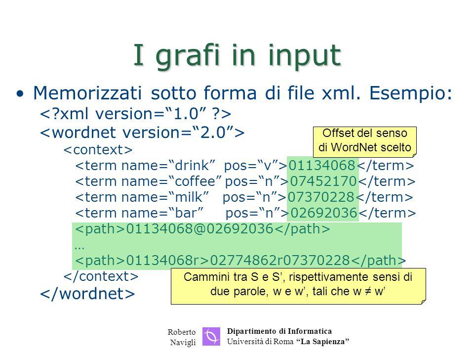 Dipartimento di Informatica Università di Roma La Sapienza Roberto Navigli I grafi in input Memorizzati sotto forma di file xml. Esempio: 01134068 074
