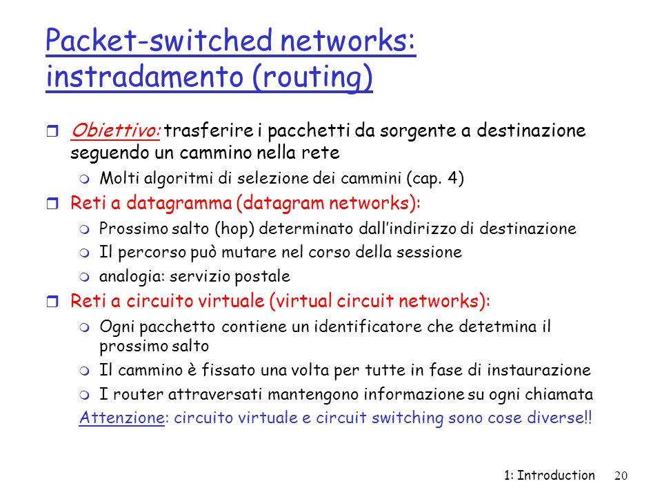1: Introduction20 Packet-switched networks: instradamento (routing) r Obiettivo: trasferire i pacchetti da sorgente a destinazione seguendo un cammino