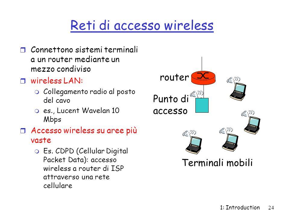 1: Introduction24 Reti di accesso wireless r Connettono sistemi terminali a un router mediante un mezzo condiviso r wireless LAN: m Collegamento radio