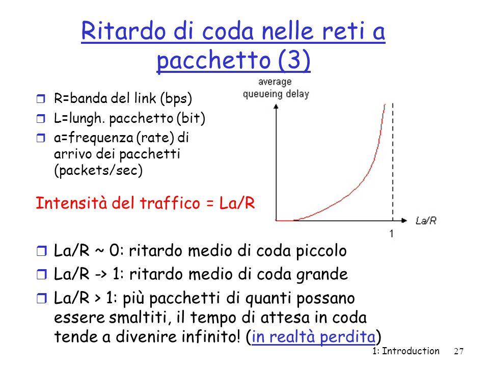 1: Introduction27 Ritardo di coda nelle reti a pacchetto (3) r R=banda del link (bps) r L=lungh. pacchetto (bit) r a=frequenza (rate) di arrivo dei pa