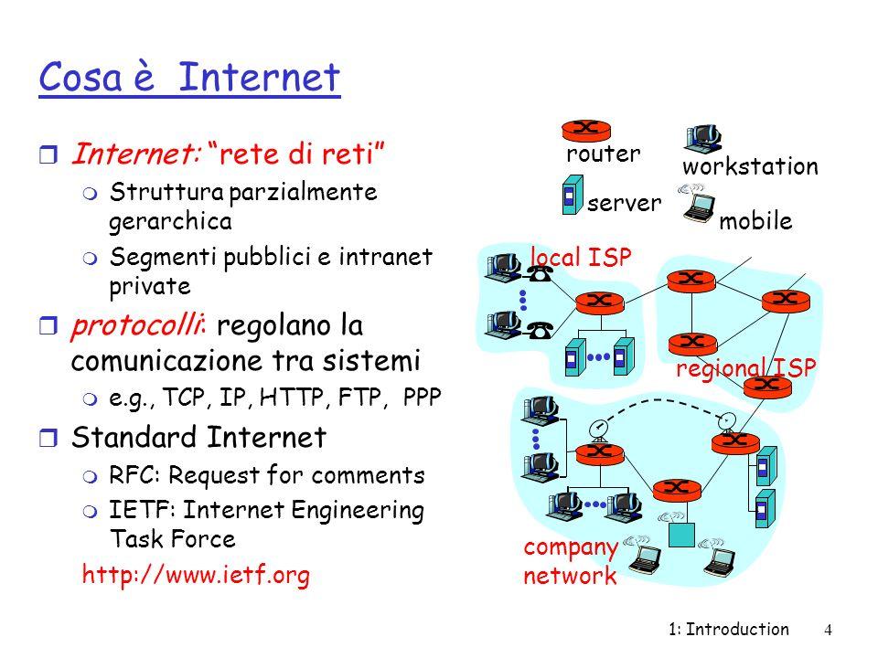 1: Introduction4 Cosa è Internet r Internet: rete di reti m Struttura parzialmente gerarchica m Segmenti pubblici e intranet private r protocolli: reg