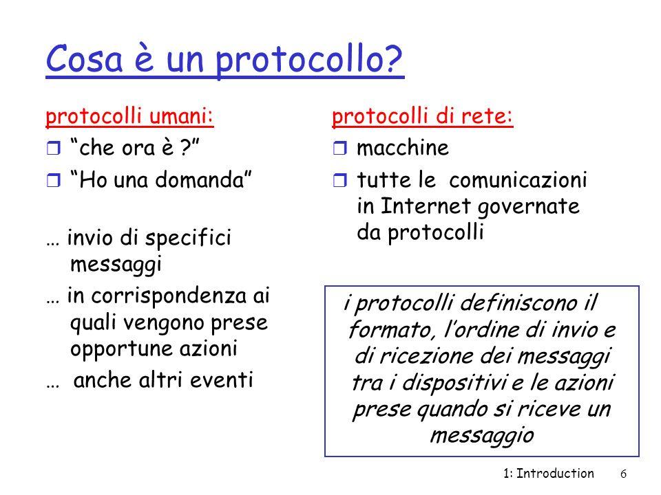 1: Introduction6 Cosa è un protocollo? protocolli umani: r che ora è ? r Ho una domanda … invio di specifici messaggi … in corrispondenza ai quali ven
