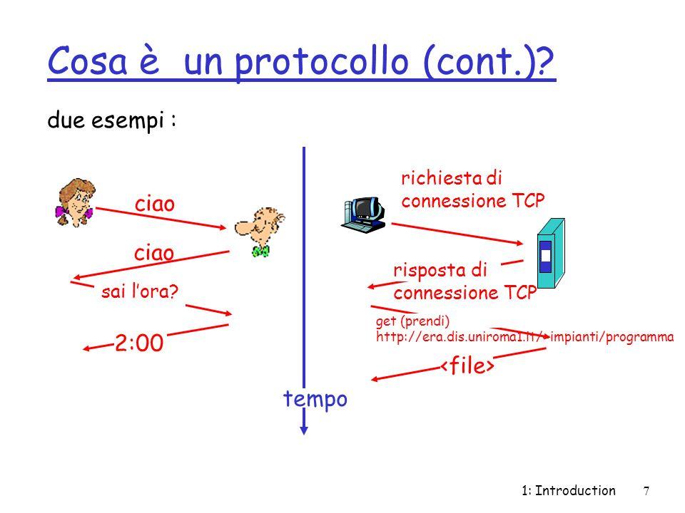 1: Introduction7 Cosa è un protocollo (cont.)? due esempi : ciao sai lora? 2:00 richiesta di connessione TCP risposta di connessione TCP get (prendi)