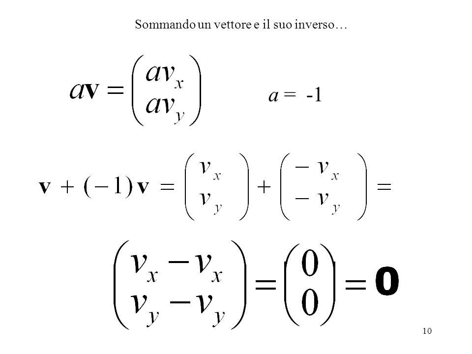 10 a = -1 Sommando un vettore e il suo inverso…