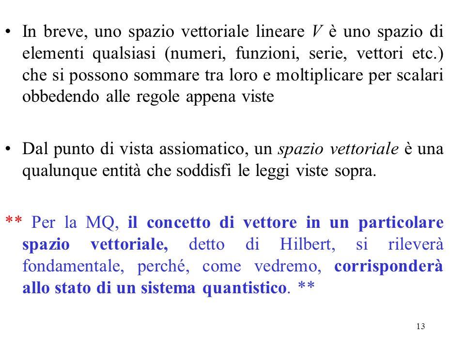 13 In breve, uno spazio vettoriale lineare V è uno spazio di elementi qualsiasi (numeri, funzioni, serie, vettori etc.) che si possono sommare tra lor