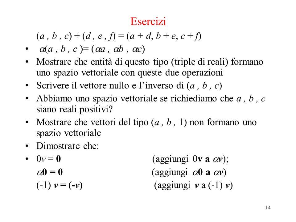14 Esercizi (a, b, c) + (d, e, f) = (a + d, b + e, c + f) (a, b, c )= ( a, b, c) Mostrare che entità di questo tipo (triple di reali) formano uno spaz