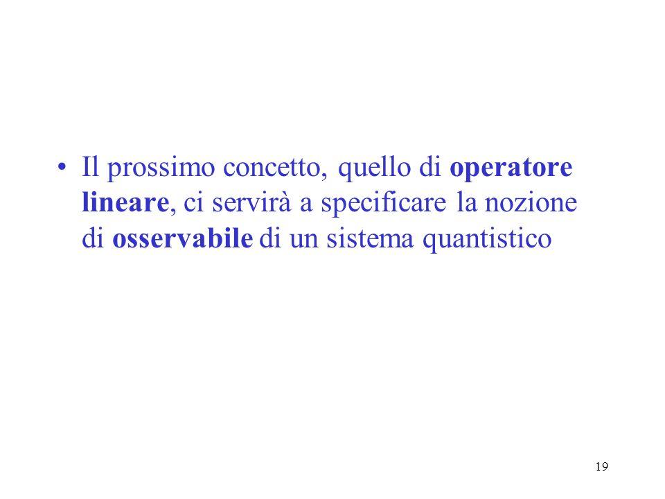 19 Il prossimo concetto, quello di operatore lineare, ci servirà a specificare la nozione di osservabile di un sistema quantistico