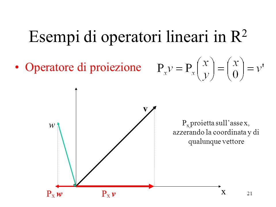 21 Esempi di operatori lineari in R 2 Operatore di proiezione x v P x v w P x w P x proietta sullasse x, azzerando la coordinata y di qualunque vettor