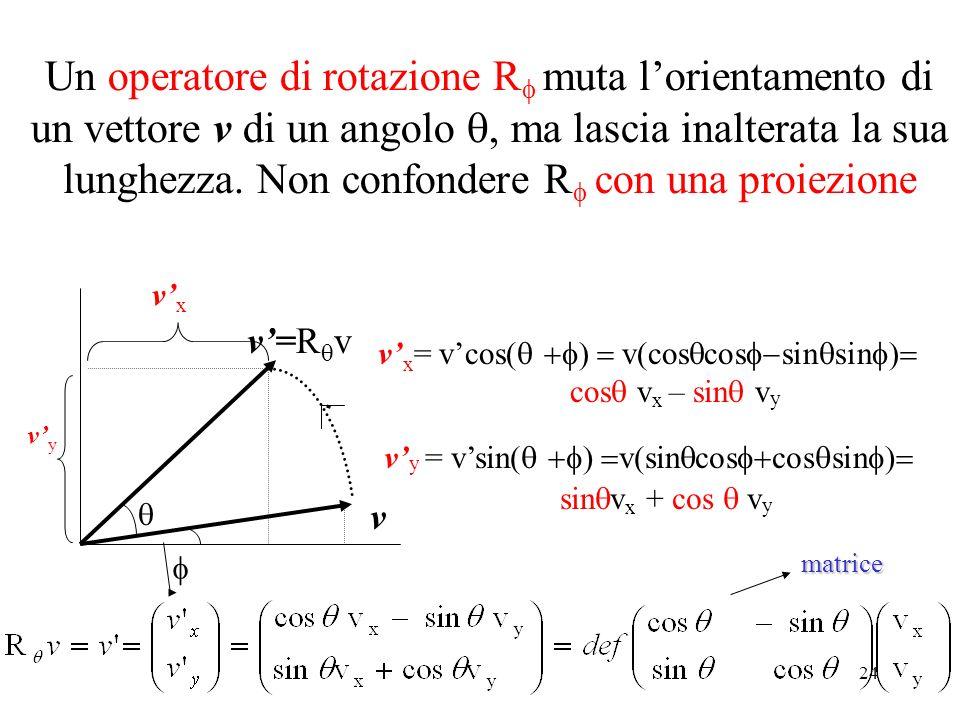 24 Un operatore di rotazione R muta lorientamento di un vettore v di un angolo ma lascia inalterata la sua lunghezza. Non confondere R con una proiezi