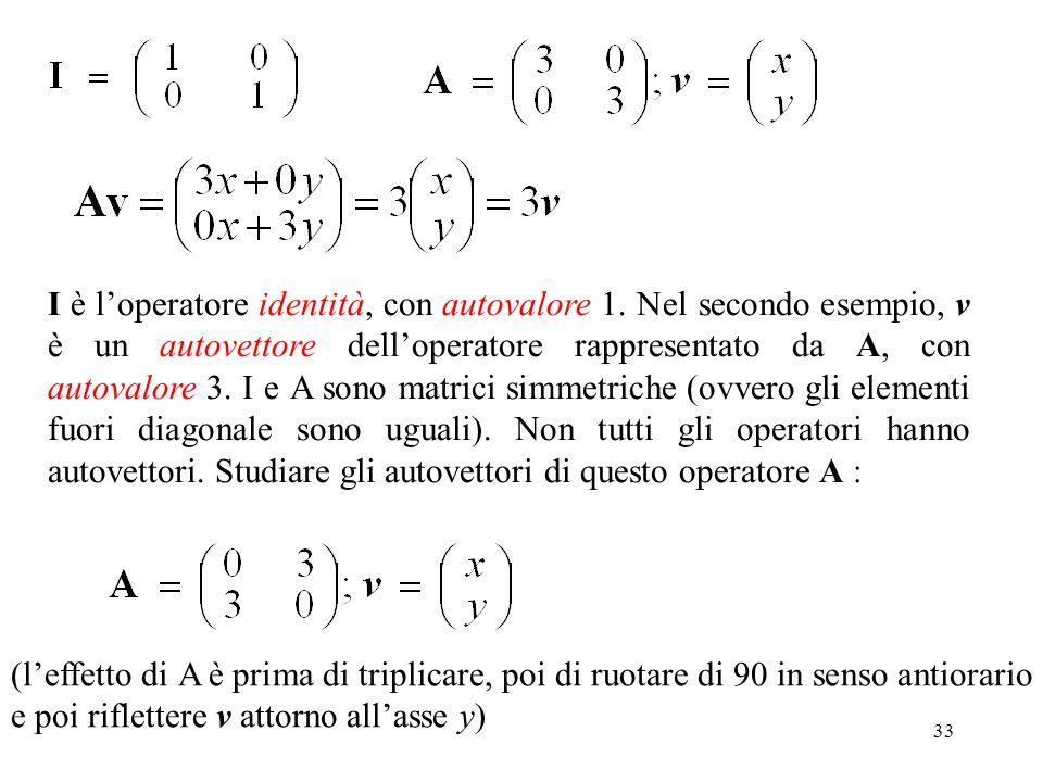 33 I è loperatore identità, con autovalore 1. Nel secondo esempio, v è un autovettore delloperatore rappresentato da A, con autovalore 3. I e A sono m