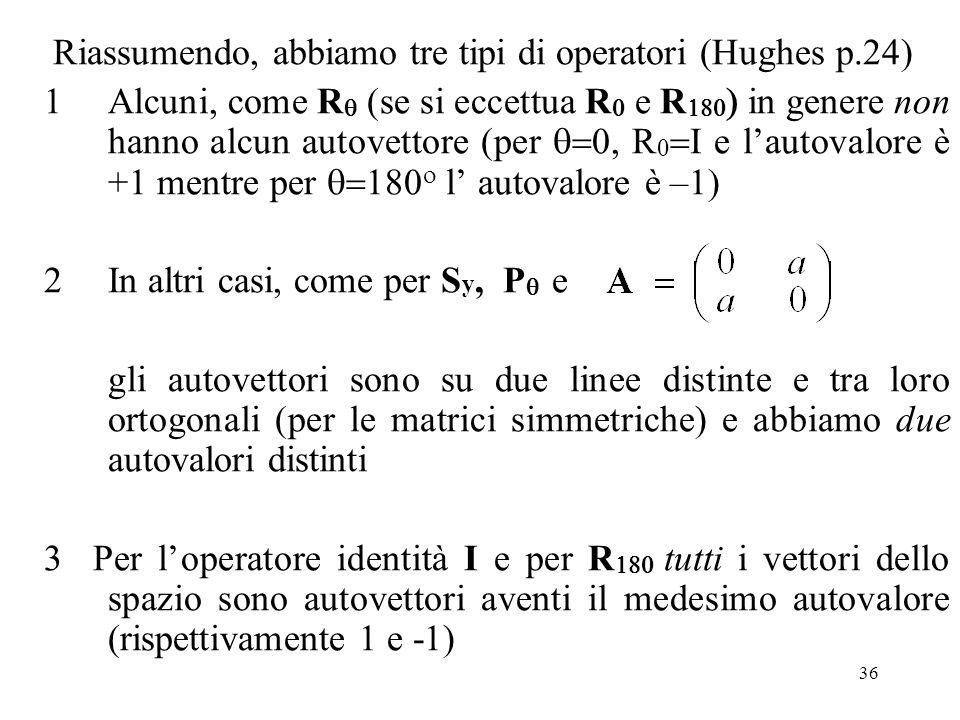 36 Riassumendo, abbiamo tre tipi di operatori (Hughes p.24) 1Alcuni, come R (se si eccettua R e R in genere non hanno alcun autovettore (per R e lauto