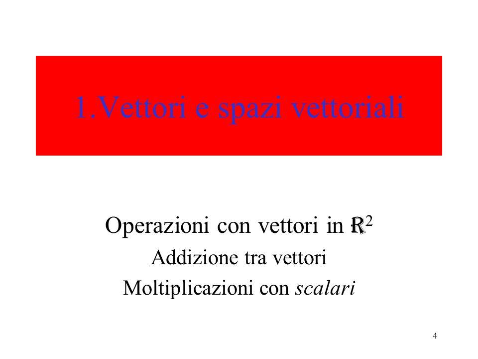 4 1.Vettori e spazi vettoriali Operazioni con vettori in R 2 Addizione tra vettori Moltiplicazioni con scalari