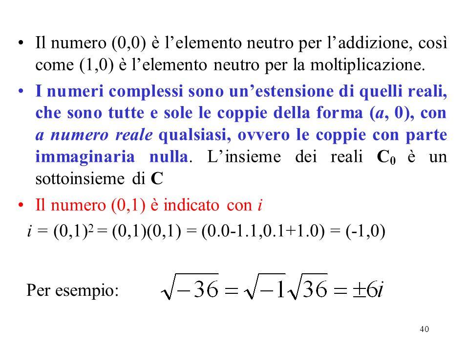 40 Il numero (0,0) è lelemento neutro per laddizione, così come (1,0) è lelemento neutro per la moltiplicazione. I numeri complessi sono unestensione