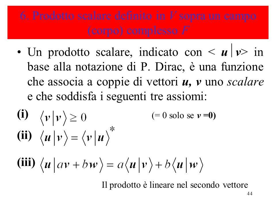 44 6. Prodotto scalare definito in V sopra un campo (corpo) complesso F Un prodotto scalare, indicato con in base alla notazione di P. Dirac, è una fu