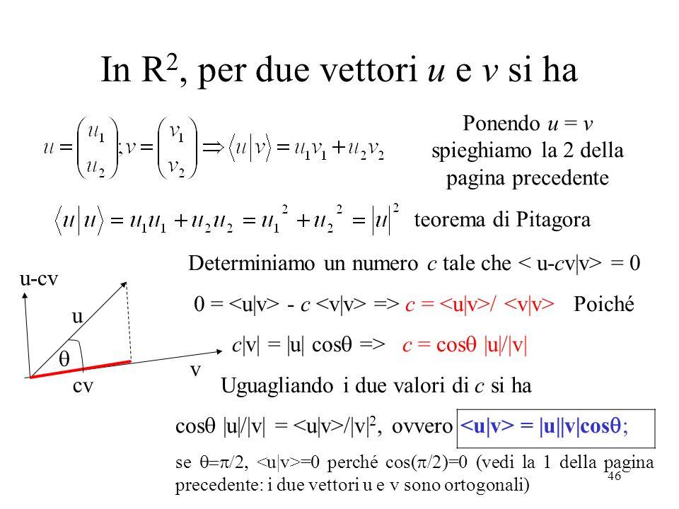 46 In R 2, per due vettori u e v si ha Ponendo u = v spieghiamo la 2 della pagina precedente u cv v u-cv Determiniamo un numero c tale che = 0 0 = - c