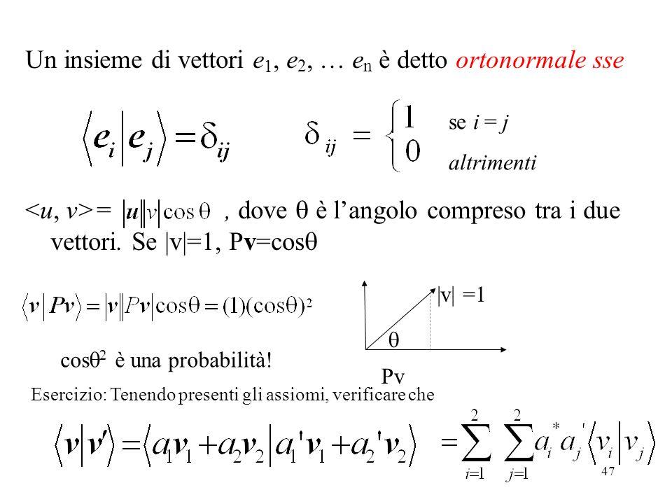 47 Un insieme di vettori e 1, e 2, … e n è detto ortonormale sse =, dove è langolo compreso tra i due vettori. Se |v|=1, Pv=cos Pv |v| =1 se i = j alt