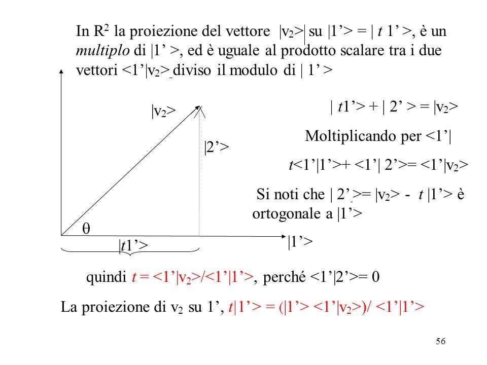 56 |v 2 > |1> In R 2 la proiezione del vettore |v 2 > su |1> = | t 1 >, è un multiplo di |1 >, ed è uguale al prodotto scalare tra i due vettori divis