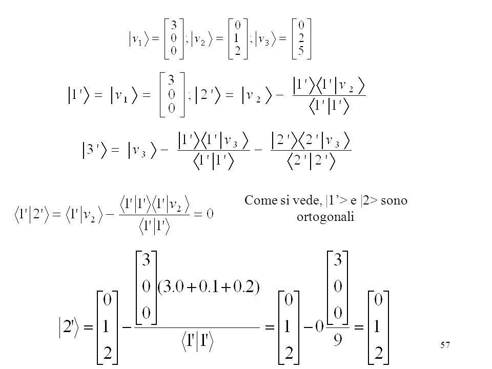 57 Come si vede, |1> e |2> sono ortogonali