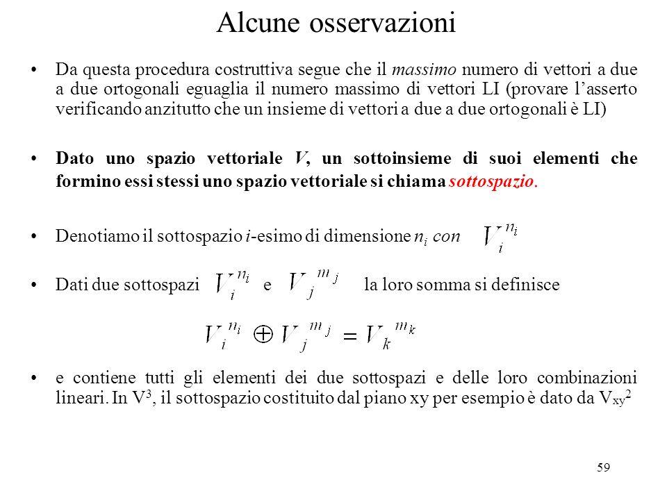59 Da questa procedura costruttiva segue che il massimo numero di vettori a due a due ortogonali eguaglia il numero massimo di vettori LI (provare las