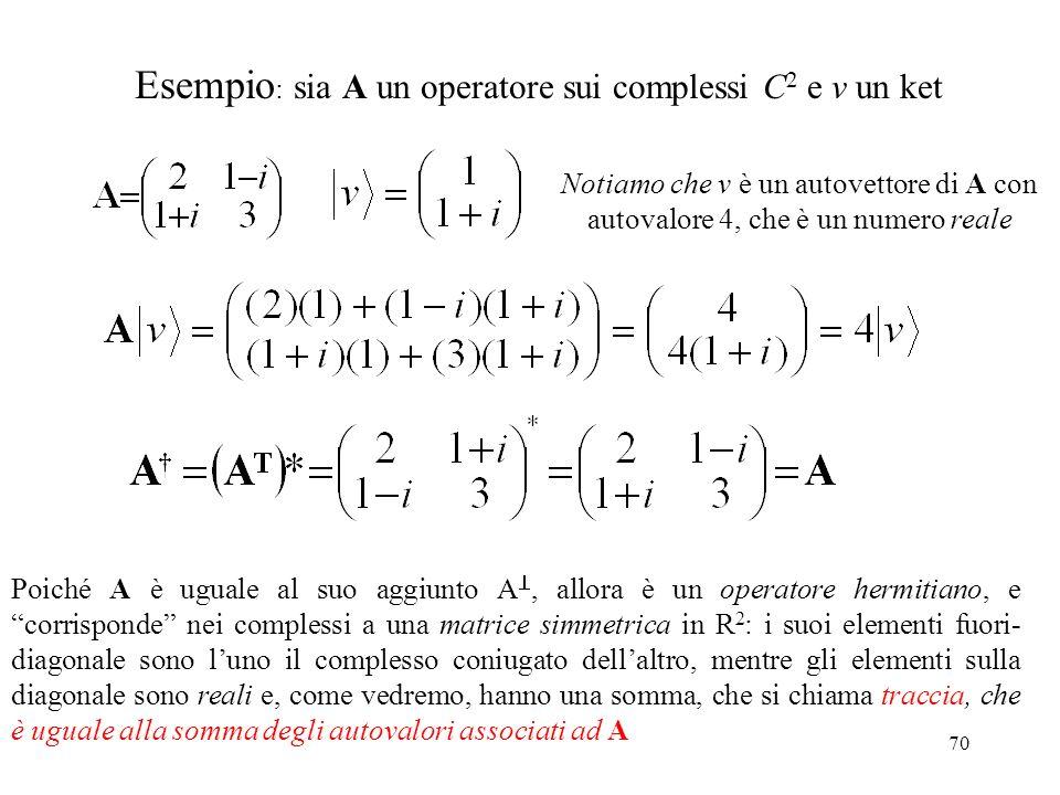 70 Esempio : sia A un operatore sui complessi C 2 e v un ket Notiamo che v è un autovettore di A con autovalore 4, che è un numero reale Poiché A è ug