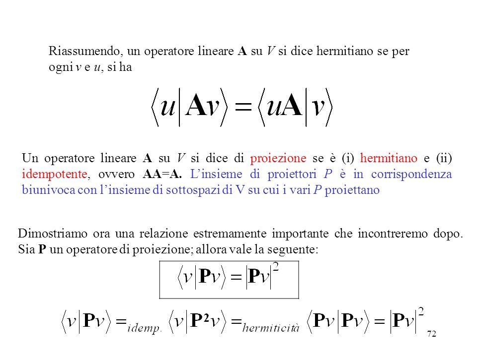 72 Riassumendo, un operatore lineare A su V si dice hermitiano se per ogni v e u, si ha Un operatore lineare A su V si dice di proiezione se è (i) her