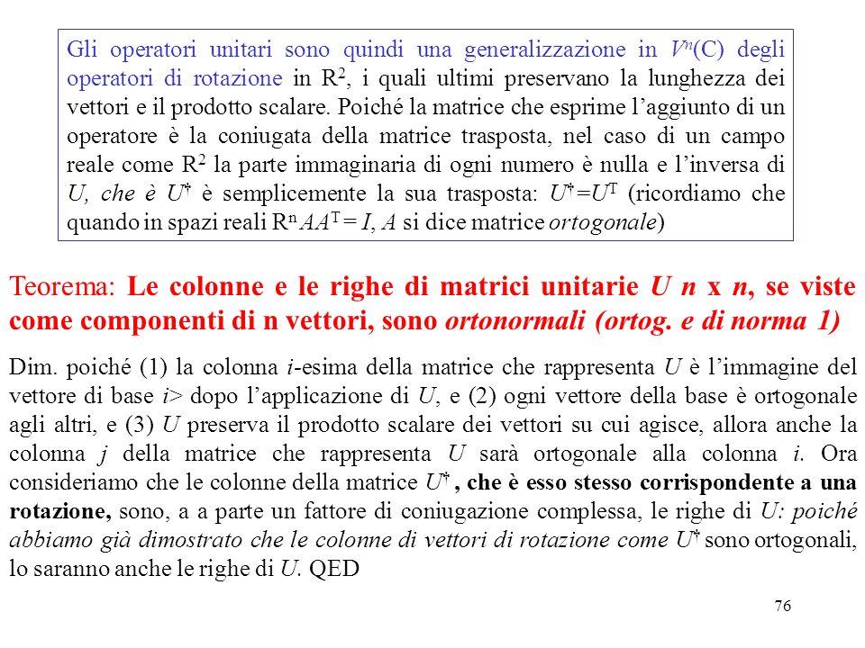 76 Gli operatori unitari sono quindi una generalizzazione in V n (C) degli operatori di rotazione in R 2, i quali ultimi preservano la lunghezza dei v