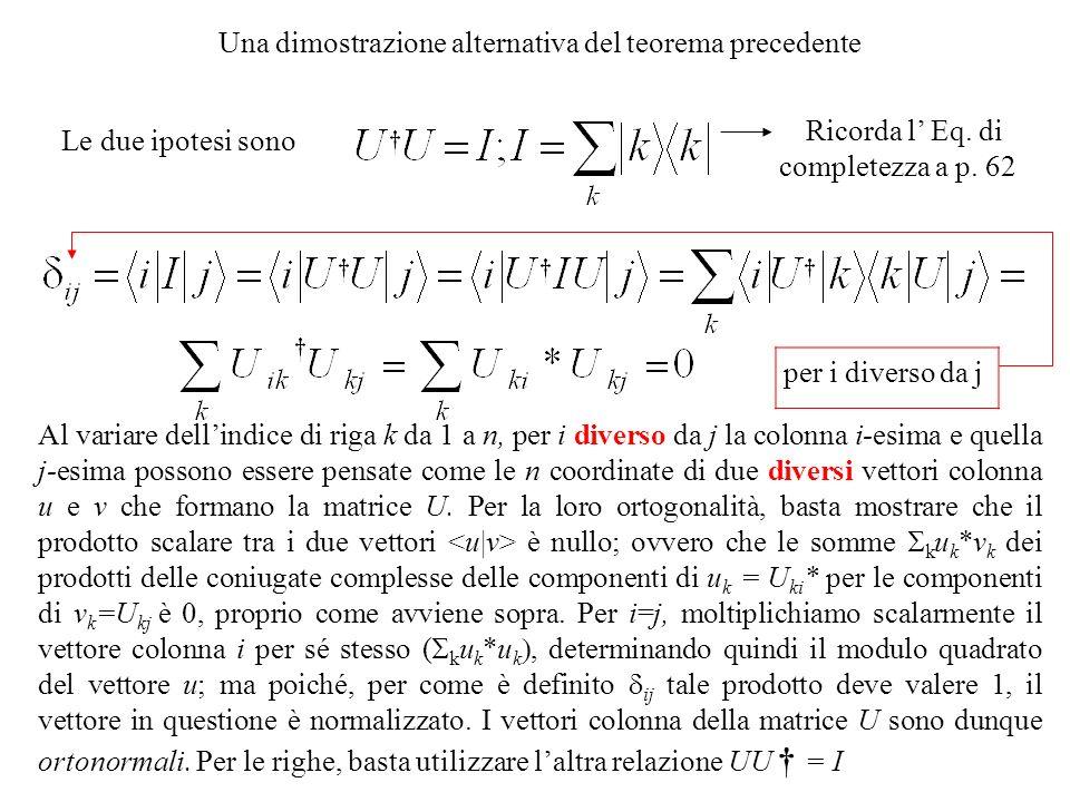 Una dimostrazione alternativa del teorema precedente Le due ipotesi sono Al variare dellindice di riga k da 1 a n, per i diverso da j la colonna i-esi