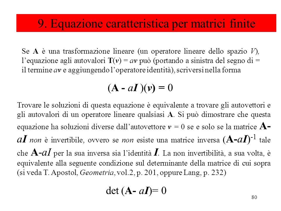 80 9. Equazione caratteristica per matrici finite Se A è una trasformazione lineare (un operatore lineare dello spazio V), lequazione agli autovalori