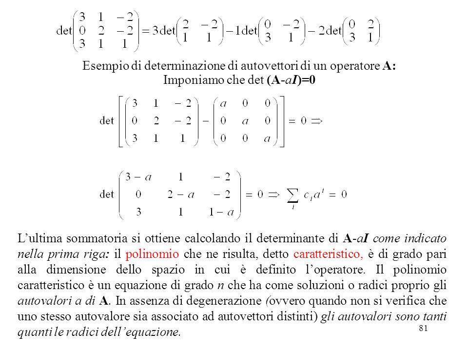 81 Esempio di determinazione di autovettori di un operatore A: Imponiamo che det (A-aI)=0 Lultima sommatoria si ottiene calcolando il determinante di