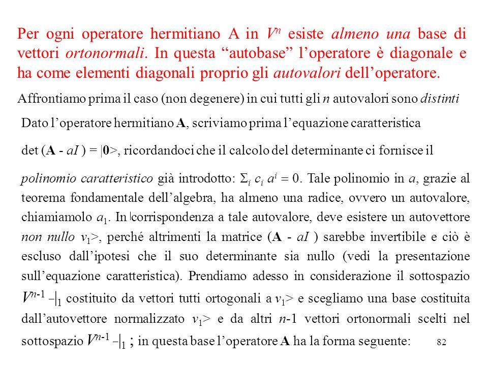 82 Per ogni operatore hermitiano A in V n esiste almeno una base di vettori ortonormali. In questa autobase loperatore è diagonale e ha come elementi