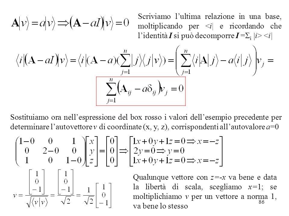 86 Scriviamo lultima relazione in una base, moltiplicando per <i| Sostituiamo ora nellespressione del box rosso i valori dellesempio precedente per de
